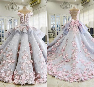 Luxury Puffy Quinceanera Ball Gown Dresses 3D Flowers Appliques Cap Sleeves Peplum Sweet 16 Floor Length Party Prom Evening gown