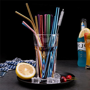 Durable Stainless Steel Straight Bent Drinking Straw Curve Metal Straws Bar Family Kitchen For Beer Fruit Juice Drink Party Accessory FY4139