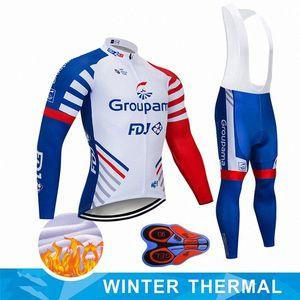 2020 2020 NEW GROUPAMA FDJ 사이클링 팀 저지 턱받이 바지 세트 로파 Ciclismo MENS 겨울 열 양털 프로 자전거 재킷 프랑 5bd6 #을 착용 타이츠