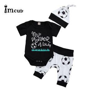Imcute 0-24M 2pcs Newborn Baby Boys Clothes Set Kid Print Letter Play Football Bodysuits Short Sleeve Tops Pants Set
