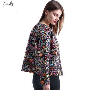 New Spring Floral Print Jacket Autumn Basic Jacket For Women Multicolor Elegant Jackets And Coats Feminina