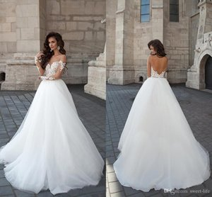 2021 Backless Wedding Dresses Sheer Crew Neck Long Illusion Sleeves Lace Appliques Long A Line Novia Bridal Gowns