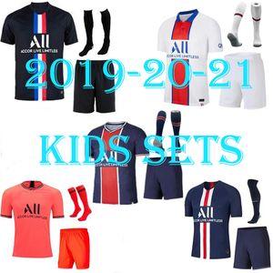 2019 2020 2021 bambini PSG calcio maglie casa di Parigi Mbappe maillot de foot 19 20 21 psg camicia CAVANI DI MARIA Survêtement bambino calcio giovanile