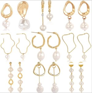 Earrings Vintage Pearl Stud Big Circle Women Engagement Jewelry Geometric Imitation Pearl Crystal Earrings Jewelry CNY2198