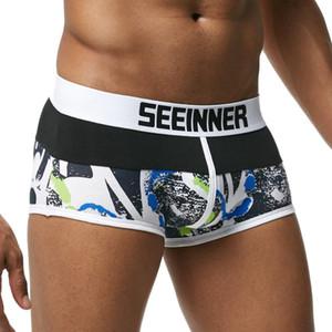 Calzoncillos Seeinner Hombre Marca transpirable Impreso algodón masculino bragas U convexa bolsa atractiva Cueca Gay pantalones cortos de la ropa interior del boxeador