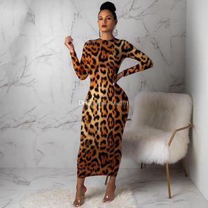 2019Spring Sonbahar Kadın Yeni Tasarımcı Çok renkli Moda Seksi Leopard Dress yazdır