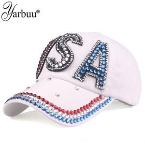 Ya bu chapéu 2019 nova moda da bandeira dos EUA Diamante Rhinestone americano Protetor solar Baseball cap boné de beisebol protetor solar