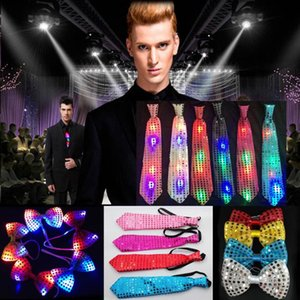 Flashing Light Up Bow bowknot Tie Necktie LED Mens Party Lights Sequins Bowtie Wedding Glow Props Halloween Christmas Cheer Prop supplies