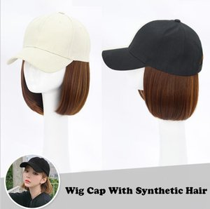 Bobo Synthetic Hair Wig with Cap Hairpiece Baseball Cap Synthetic Wig with Hat Heat Resistance Black Brown Hair