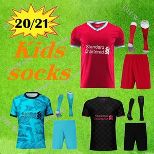 kids kit+ socks 2020 football jersey 2020 2021 away green third football uniform suit boys 2021 home red black Soccer Jersey