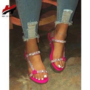 NAN JIU MOUNTAIN 2020 plana Sandals Mulheres Verão strass Mulheres Sandálias de praia Sapatos Simples Plus Size 35-43 T200713