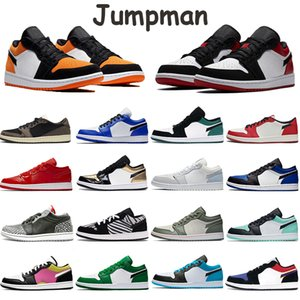 2020 Shoes Mens Basketball Baixa Jumpman 1s deslizamento Sneakers Paris Grey Black Sail UNC Travis Scotts Triplo Branco Preto Chicago Real Toe instrutor