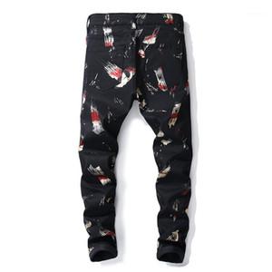 kot Siyah baskılı yeni Erkek moda 3D renkli desen kaliteli jean ince pantolon erkekler boyalı