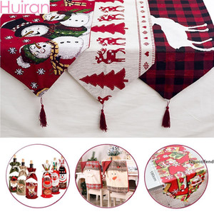 Huiran Linen Christmas Elk Snowman Table Runner Merry Christmas Decorations For Home 2019 Xmas Ornaments New Year 2020 Navidad