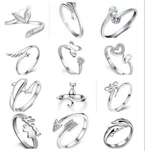 12 estilo escolha chapeamento 925 esterlina anéis de prata golfinhos asas libélulas do anjo amor coração raposa borboleta abrindo anel ajustável
