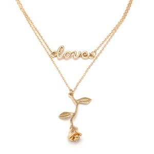 Rose Pendant Necklace Exquisite Charm Rose Leaves Floral Clavicle Accessories Valentine's Day Mother Friend Romantic Gift
