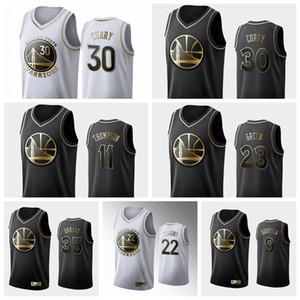 AltınDurumSavaşçılarErkekler Stephen 30 Köri Klay 11 Thompson Draymond 23 Yeşil Siyah Beyaz Altın Basketbol Swingman Jersey