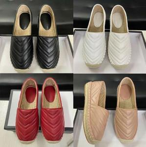 2020 Luxe Noir Plate-forme en cuir Espadrilles Chaussures Femme Double matériel en cuir véritable Slip-on Espadrille Sandal souples Bas Chaussures Casual