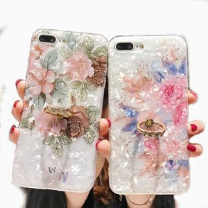 Floral Ring Stand Phone Case For iPhone 11 Pro XR XS Max XS Plus Retro Case Soft IMD Dream Shell Phone Cover 372
