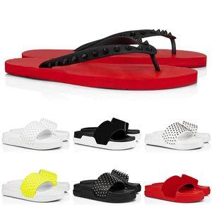 2020 red bottom flip flops leather slippers slides sandals men women red bottom spikes summer mens outdoor sandals