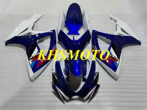 Injection mold Fairing kit for 2006 2007 SUZUKI GSXR600 750 GSXR600 GSXR750 K6 06 07 ABS white blue Fairings set MN138