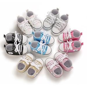 2020 ragazzi nuovi primi camminatori bambino bling paillettes ragazzi stella scarpe per bambini scarpe firmate neonate Lace-up scarpe con suole morbide A3749