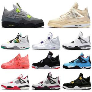 ayakkabı Retro 4 off white Sail Jumpman aj 4s Basketbol ayakkabıları IV Neon Bred Black Cat What the Trainers erkekler kadınlar Sneakers Sports Runners Size 13