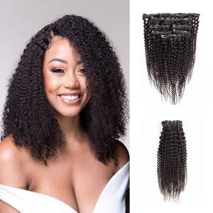 Kissyair Kinky Clip rizado en extensión de cabello Color natural Cabello humano brasileño 7pcs Clip de trama en el cabello