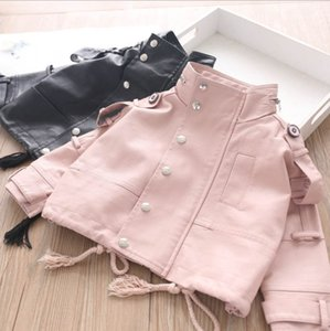 Fashion New Kids Jacket 2020 children PU leather jacket outwear girls stand lace-up long sleeve jacket black pink A3537