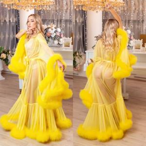 2020 Желтый Женская зимняя Sexy Lady искусственного меха пижамы женщин Халат Sheer Nightgown Красный Белый Серый Мантия выпускного вечера Bridesmaid Шавель