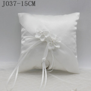 New Wedding Ring Pillow With Ribbons 15x15cm White Flower Wedding Ring Holder Marriage Ring Cushion Bearer Wedding Party Decoration J037
