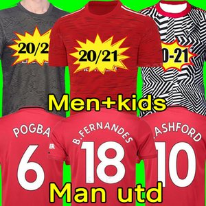 Maillot Manchester United 2020 2021 BRUNO FERNANDES MARTIAL POGBA GREENWOOD unie maillot de football RASHFORD enfants maillots kit Maillot De Football 20 21 Top Qualité équipement