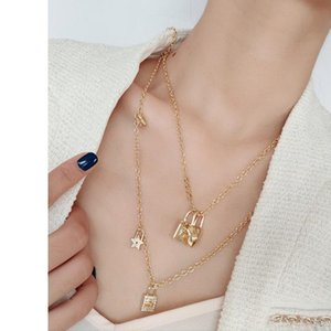 D home bag love five-pointed star double-layer necklace female Dijia light luxury full diamond elegant all-match
