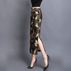 Camouflage hip-covered long tweed split on both sides TikTok dress one-step skirt thickened one-step skirt