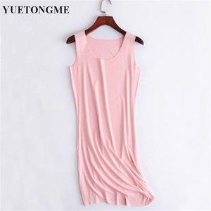 YUETONGME 여성 여름 드레스 여성 섹시한 민소매 슬림 탄성 패션 드레스 Vestidos BTL126