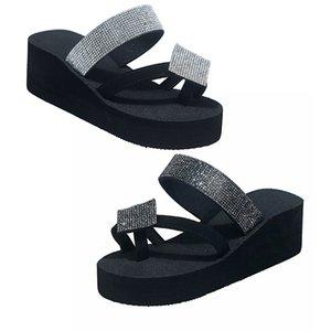 Large Size Women's Slippers One-flip Women's High-Heel Platform Diamond Sandals Flat Casual Water Sponge Cake Platform Slippers