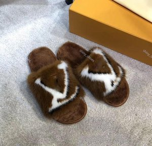 fashion Limited edition full mink hair home and hotel slippers Latest Light and comfortable soles Womens Soft warm Fur slippers
