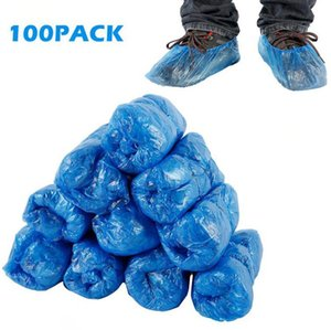 Plastic Disposable Shoe Covers Blue Outdoor Indoor Cleaning Shoe Cover Cleaning Overshoes Protective Shoe Covers 100pcs pack OOA8075