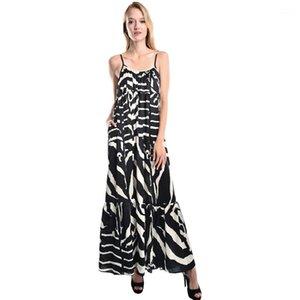 Elbiseler Kadınlar Yüksek Bel Casual Giyim Kadın Zebra Çizgili Yaz Elbise Kadın Moda Spagetti Askı Seksi Backless
