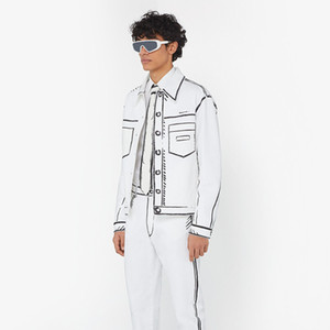 유럽 캘리포니아 스카이 손으로 그린 라인 빈티지 자켓 하이 스트리트 패션 코트 커플 여성 남성 착실히 보내다 재킷 HFXHJK101