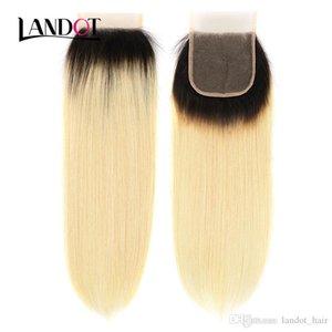 "Ombre 1B 613 Bleach Blonde Brazilian Virgin Hair Lace Closure 4x4"" Straight Peruvian Malaysian Indian Cambodian Russian Human Hair Closures"