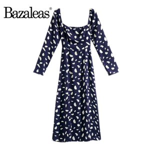 Bazaleas Vintage Navy Dot Print women midi dress square neckline Long sleeve women dress Fashion high Split vestido