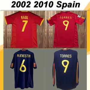 2010 Spagna Mens RETRO maniche lunghe maglie calcio della squadra nazionale TORRES FABREGAS A. INIESTA DAVID VILLA TRASFERTA Calcio camicia blu uniforme