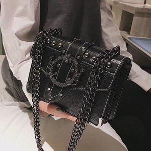 European Fashion Female Platz Bag 2020 neue Qualität PU-Leder-Frauen-Designer-Handtasche Niet-Verschluss-Ketten-Schulter-Kurier-Taschen