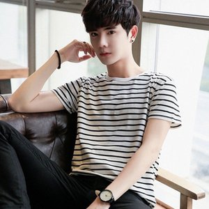 Новые продукты Black And White Stripes Tops мужская одежда Цзя Er Цзянь с коротким рукавом рубашки Корейский стиль Slim Fit Blank T Shirt Base S wQCY #