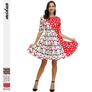 Autumn dress women 2020 Santa Claus digital printing fashion temperament dress waist unkempt skirt