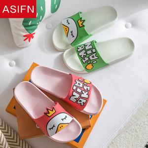 ASIFN Cute Duck Women Slippers Couple Female Cartoon Crown Summer Bathroom Comfortable Non-slip Home Slides Chaussures Femme