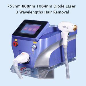 Máquina de belleza de depilación láser de diodo 755nm 808nm 1064nm Eliminación de cabello con láser diodo 808 Máquina láser de diodo