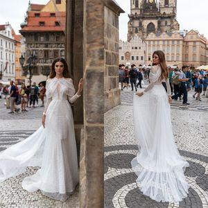 Elegant Wedding Dresses A Line Lace Applique Illusion Bridal Detachable Halter Sweep Train Dress Custom Made Vestidos De Novia