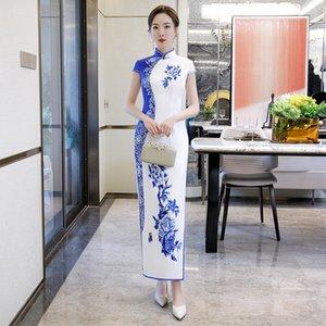Raso femminile elegante del partito Slim qipao diamante caldo Peony Fiore blu e bianco Cheongsam cinese tradizionale Donna Qipao
